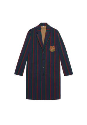 Striped wool coat with crest