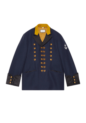 Felt coat with anchor patch