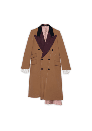 Asymmetric wool coat with stitching