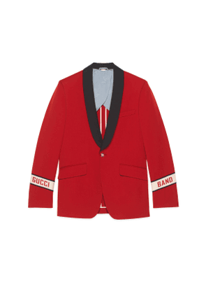 Wool twill jacket with Gucci Band