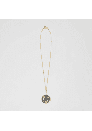 Burberry Logo Medallion Gold-plated Chain Necklace, Yellow