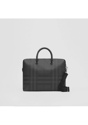 Burberry Large London Check and Leather Briefcase, Black