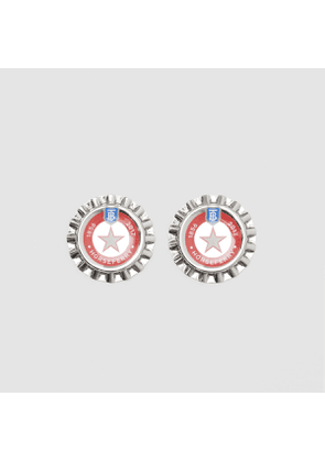 Burberry Palladium-plated Bottle Cap Earrings, Grey
