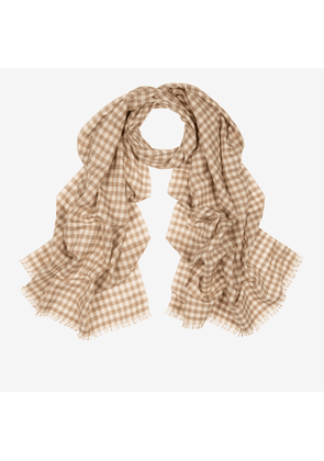 Checked Cashmere-Silk Scarf