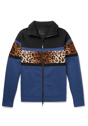 99%IS- - Leopard-print Faux Fur-trimmed Stretch-jersey Track Jacket - Navy