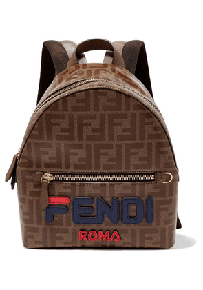 Fendi - Leather-trimmed Printed Coated-canvas Backpack - Brown