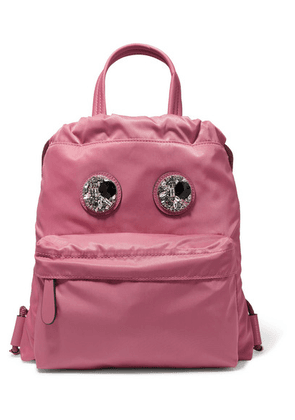 Anya Hindmarch - Crystal-embellished Leather-trimmed Shell Backpack - Pink