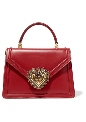 Dolce & Gabbana - Devotion Small Embellished Leather Tote - Red