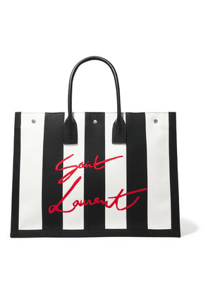 SAINT LAURENT - Noe Leather-trimmed Embroidered Striped Canvas Tote - Black