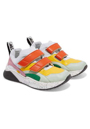 Stella McCartney Kids - Color-block Distressed Leather And Canvas Sneakers - White