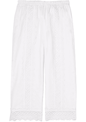 Charo Ruiz Kids - Crocheted Lace-paneled Cotton-blend Pants - White