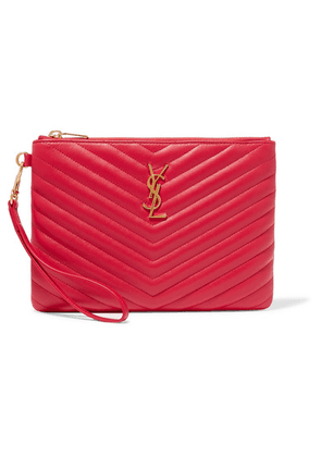 SAINT LAURENT - Monogramme Quilted Leather Pouch - Red