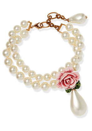 Dolce & Gabbana - Faux-pearl, Enamel And Crystal Necklace - Pink