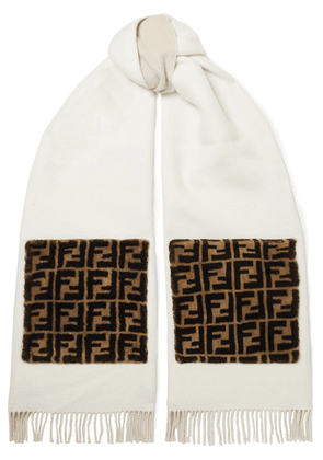 Fendi - Printed Shearling-trimmed Fringed Wool And Cashmere-blend Scarf - White