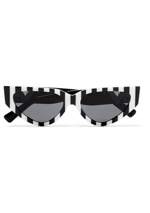 Valentino - Valentino Garavani Cat-eye Striped Acetate Sunglasses - Black