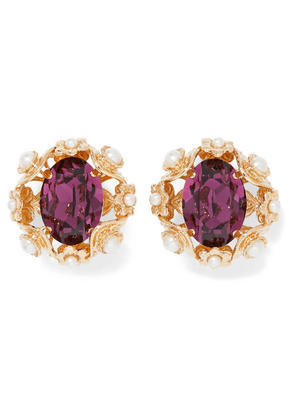 Dolce & Gabbana - Gold-tone, Crystal And Faux Pearl Clip Earrings - Purple