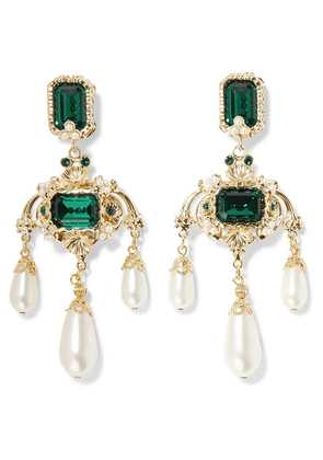 Dolce & Gabbana - Gold-tone, Crystal And Faux Pearl Clip Earrings - Green