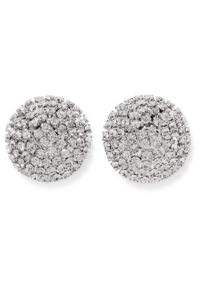 Alessandra Rich - Oversized Silver-tone Crystal Earrings - one size