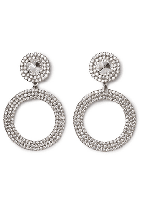 Alessandra Rich - Oversized Silver-tone Crystal Clip Earrings - one size