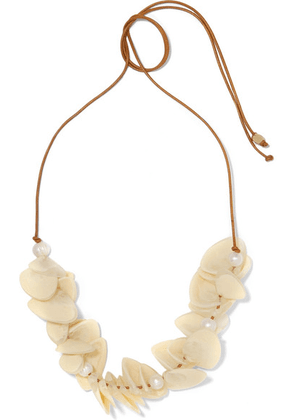 Dinosaur Designs - Pipi Leather, Resin And Faux Pearl Necklace - Ivory