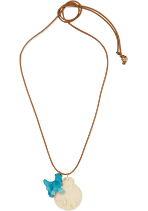 Dinosaur Designs - Gold-tone, Leather And Resin Necklace - Turquoise