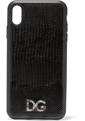 Dolce & Gabbana - Crystal-embellished Lizard-effect Leather Iphone Xs Max Case - Black