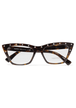 Valentino - Valentino Garavani Cat-eye Crystal-embellished Tortoiseshell Acetate Optical Glasses - one size