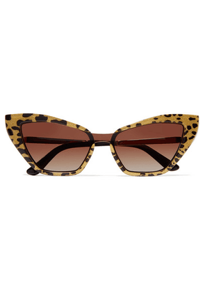 Dolce & Gabbana - Cat-eye Glittered Leopard-print Acetate And Gold-tone Sunglasses - Leopard print