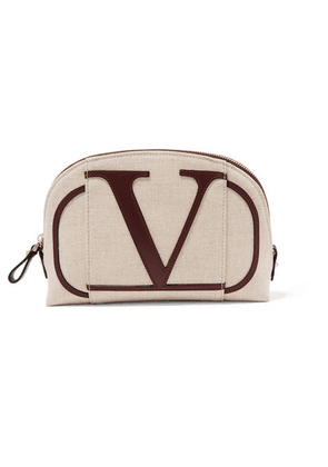 Valentino - Valentino Garavani Go Logo Small Leather-trimmed Canvas Cosmetics Case - Beige