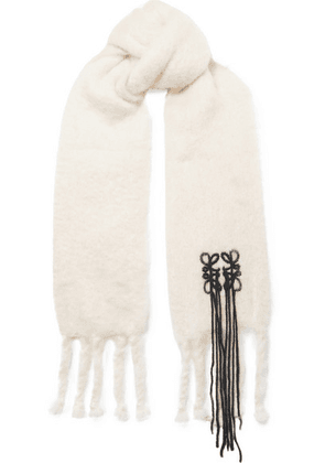 Loewe - Embroidered Mohair-blend Scarf - White