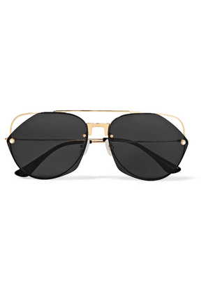 For Art's Sake - Casino Aviator-style Faux Pearl-embellished Gold-tone Sunglasses - one size