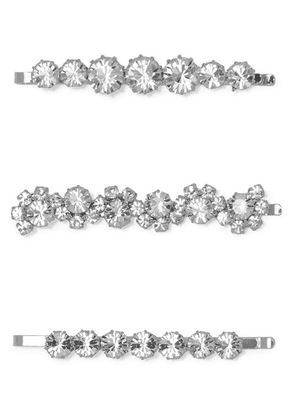 Alessandra Rich - Set Of Three Silver-tone And Crystal Hair Slides - one size
