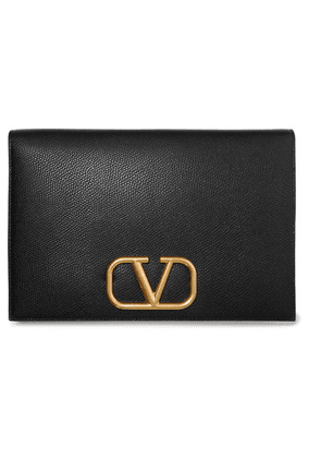 Valentino - Valentino Garavani Go Logo Textured-leather Pouch - Black