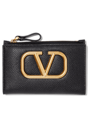 Valentino - Valentino Garavani Go Logo Textured-leather Wallet - Black