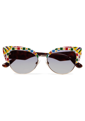 Dolce & Gabbana - Cat-eye Printed Acetate And Gold-tone Sunglasses - Blue