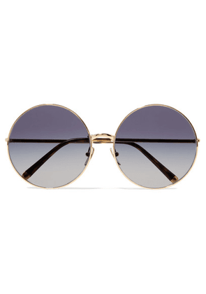 Dolce & Gabbana - Round-frame Printed Acetate And Gold-tone Convertible Sunglasses - Blue