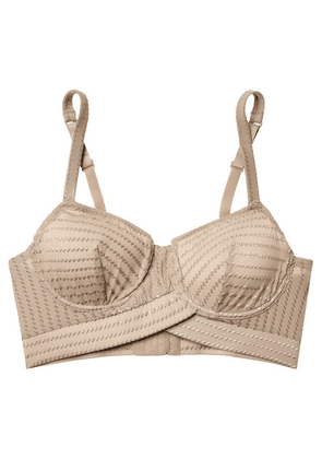 ELSE - Ziggy Embroidered Stretch-jersey Underwired Soft-cup Bra - Beige