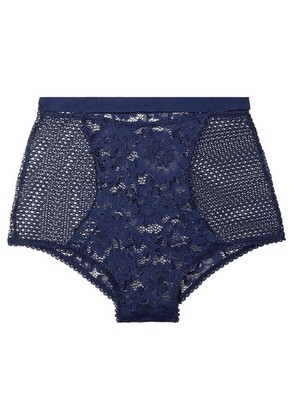ELSE - Petunia Stretch-mesh And Corded Lace Briefs - Midnight blue