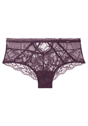 Chantelle - Segur Satin-trimmed Lace And Tulle Briefs - Grape