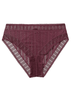 ELSE - Lolita Striped Stretch-lace And Tulle Briefs - Merlot