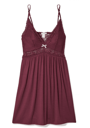 Eberjey - Colette Mademoiselle Point D'esprit Stretch-tulle And Lace-paneled Stretch-modal Chemise - Burgundy