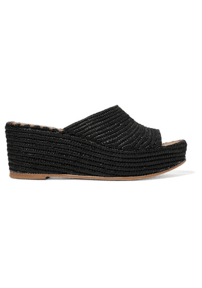Carrie Forbes - Karim Woven Raffia Wedge Sandals - Black