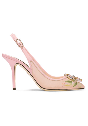 Dolce & Gabbana - Swarovski Crystal-embellished Patent Leather-trimmed Floral-print Mesh Slingback Pumps - Antique rose