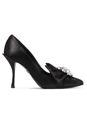Dolce & Gabbana - Crystal-embellished Satin Pumps - Black