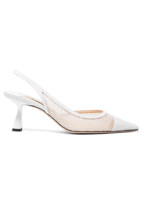 Jimmy Choo - Fetto 65 Patent-leather, Fishnet And Mesh Slingback Pumps - White