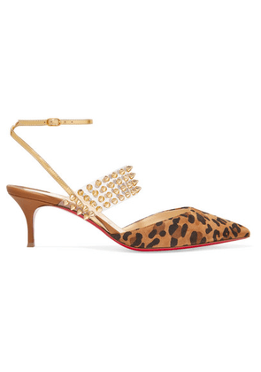 Christian Louboutin - Levita 55 Spiked Pvc, Mirrored-leather And Leopard-print Suede Pumps - Leopard print