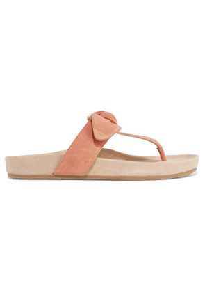 Loeffler Randall - Adriana Bow-detailed Suede Sandals - Blush