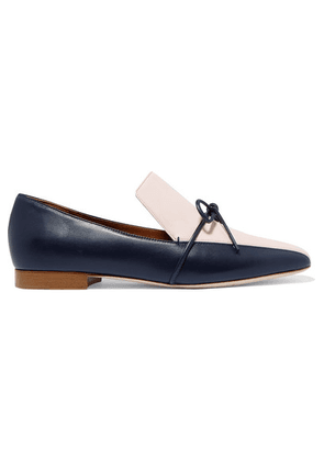 Malone Souliers - + Roksanda Celia Bow-detailed Two-tone Leather Loafers - Navy