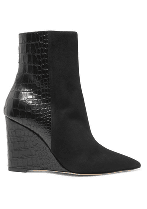 Giuseppe Zanotti - Kristen Suede And Croc-effect Leather Wedge Ankle Boots - Black
