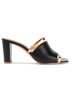 Malone Souliers - Demi 70 Metallic-trimmed Leather Mules - Black